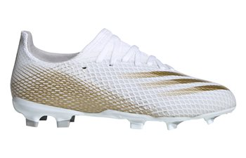 An image of Adidas Junior X Ghosted.3 Firm Ground Boots - UK 4.5, WHITE/GOLD
