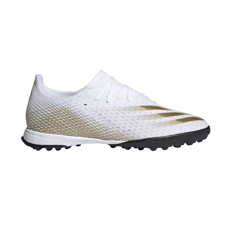 An image of Adidas Junior X Ghosted.3 Turf Football Boots - UK 1, WHITE/GOLD/BLACK