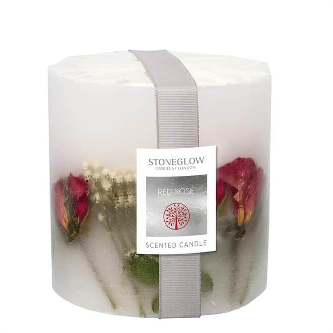 Stoneglow Flowers Pillar Candle