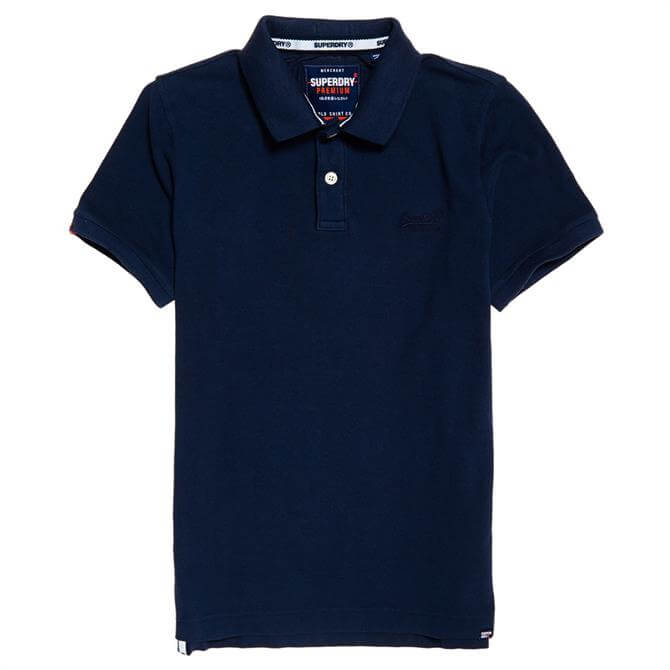 Superdry Vintage Destroyed Pique Cotton Polo Shirt