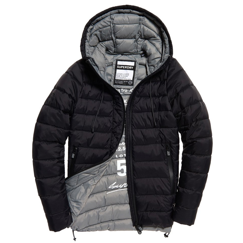 An image of Superdry Eclipse Hooded Fuji Jacket - 12R, BLACK