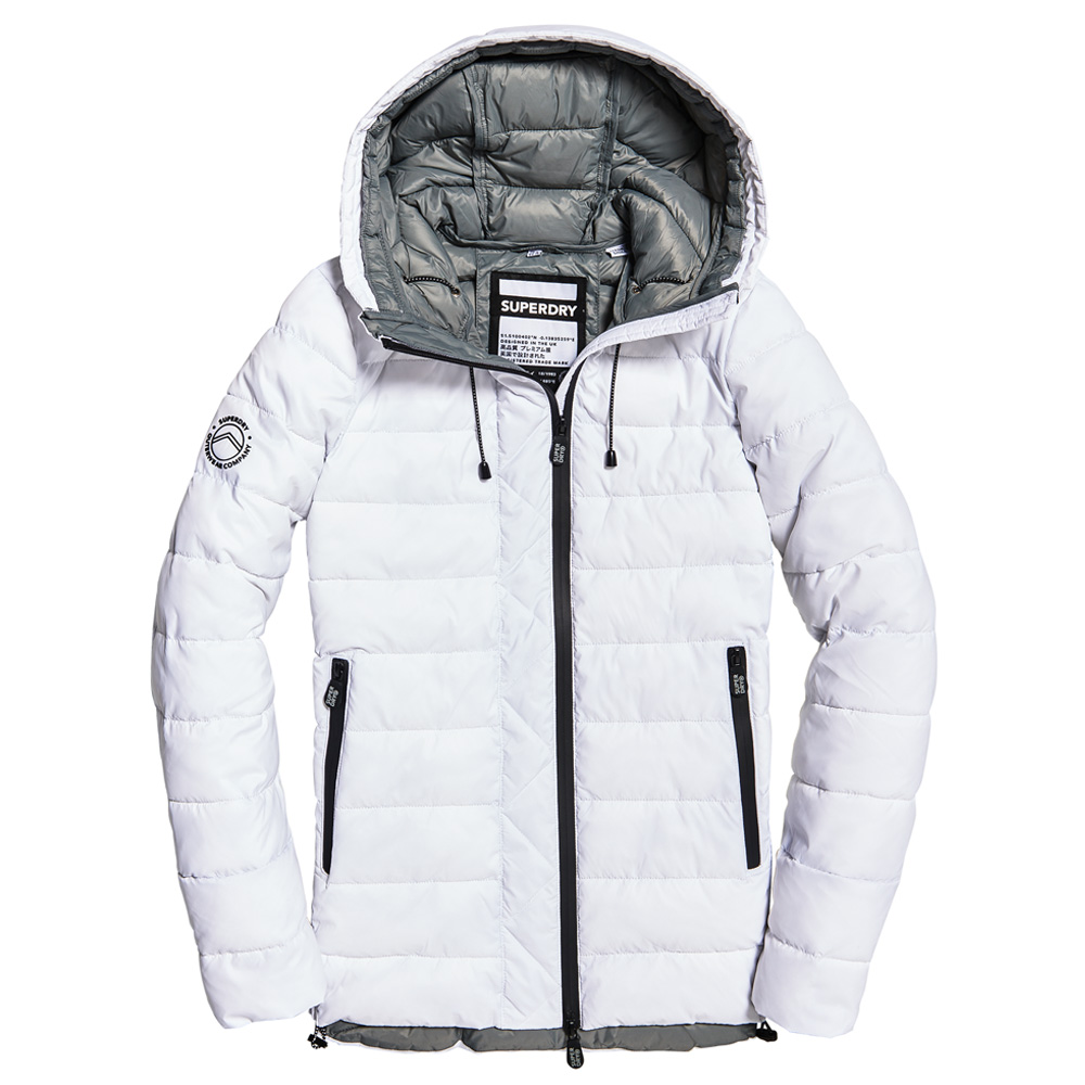 An image of Superdry Eclipse Hooded Fuji White Jacket - 8R, WHITE