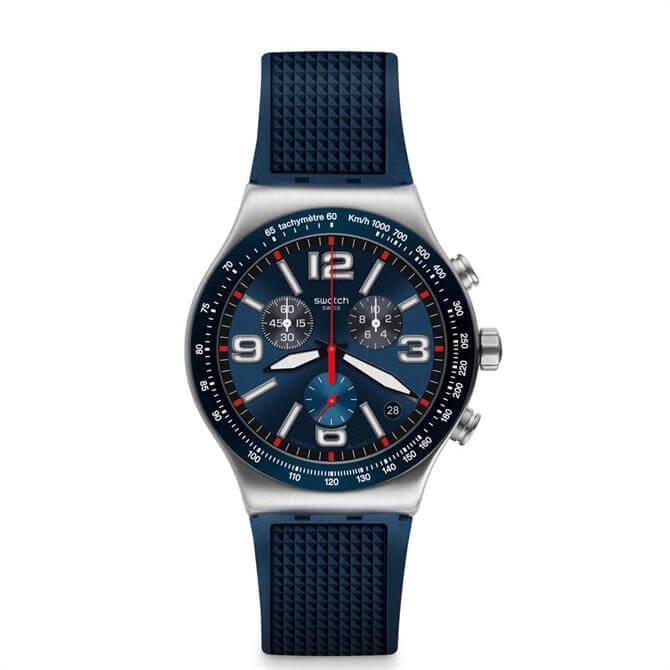 Swatch Blue Grid Chronograph Watch
