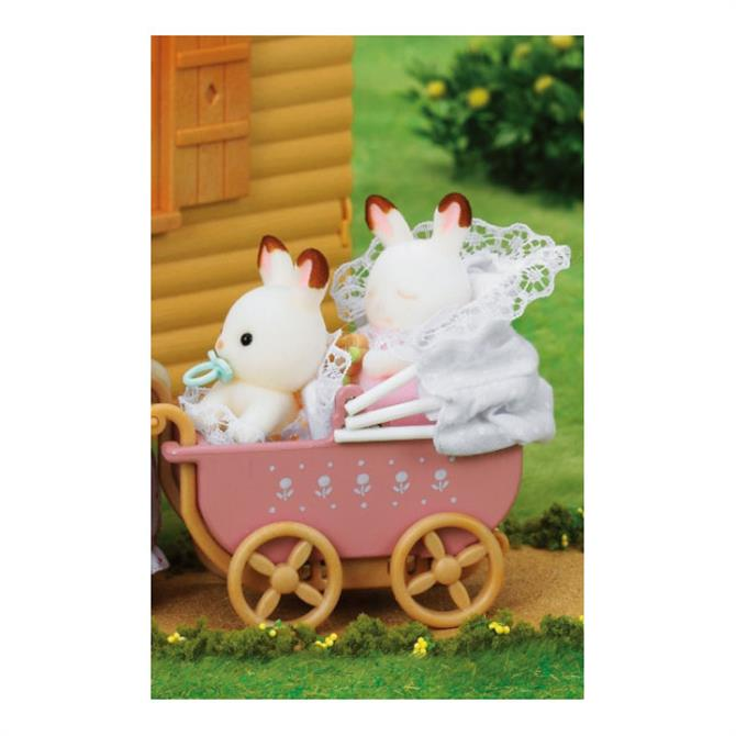 Sylvanian Families Chocolate Rabbit Twins in Pram