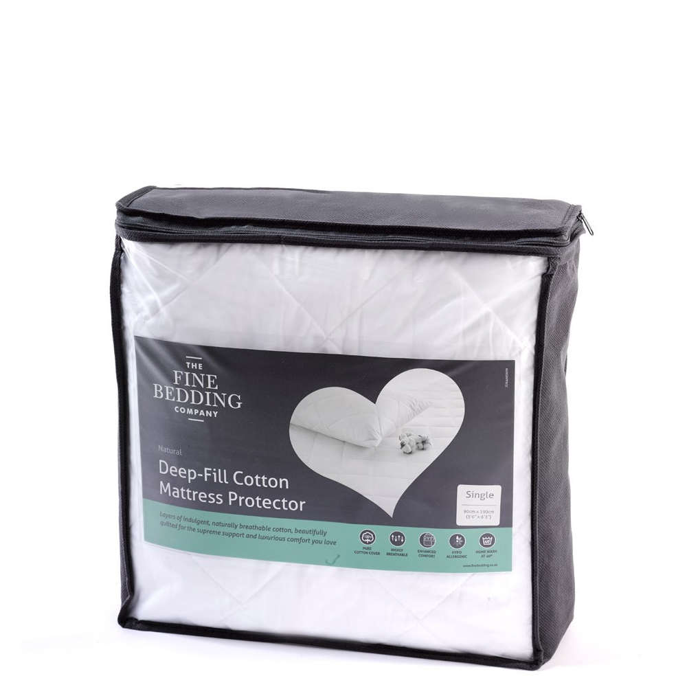 An image of The Fine Bedding Company Deep Fill Cotton Mattress Protector - SINGLE