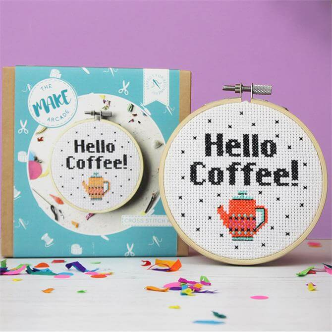 The Make Arcade Hello Coffee Cross Stitch Kit
