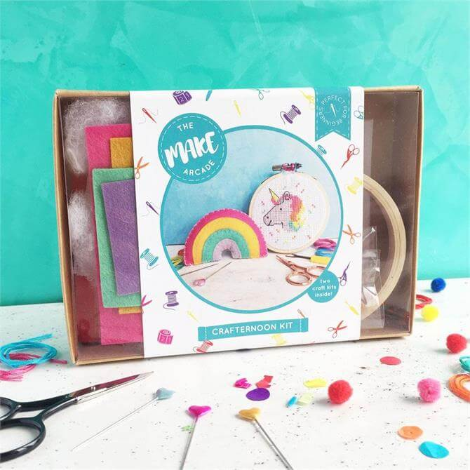 The Make Arcade Unicorn and Rainbow Crafternoon Kit