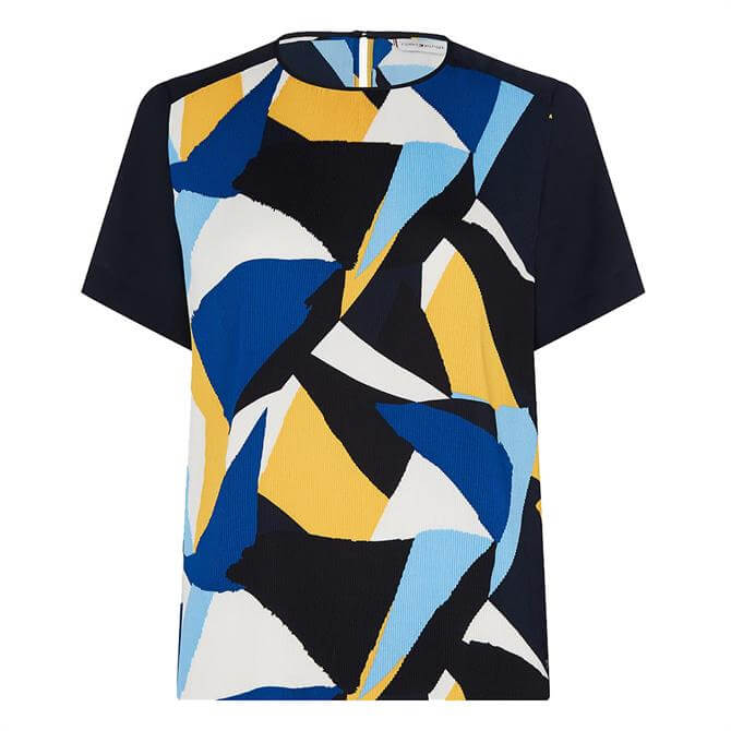 Tommy Hilfiger Painted Colourblock Lightweight Crepe Top