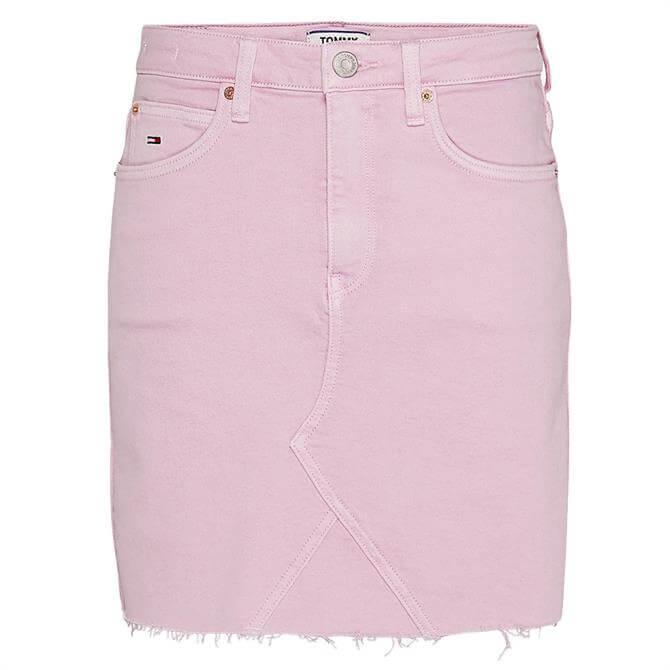 Tommy Jeans Stonewashed Raw Hem Denim Skirt