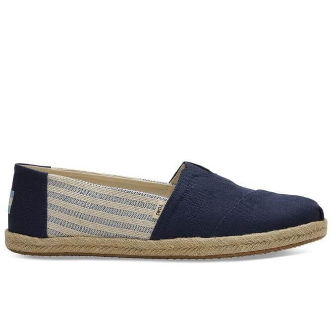 TOMS Navy Canvas Striped Alpargatas