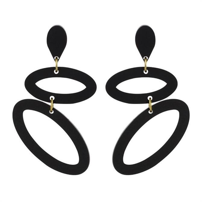 Toolally Ellipses Black Earrings