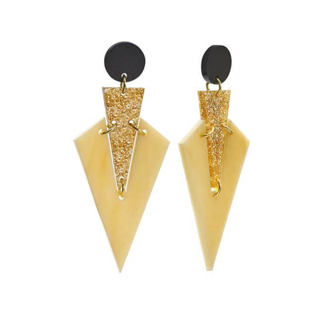Toolally Caramel Art Deco Drops Earrings