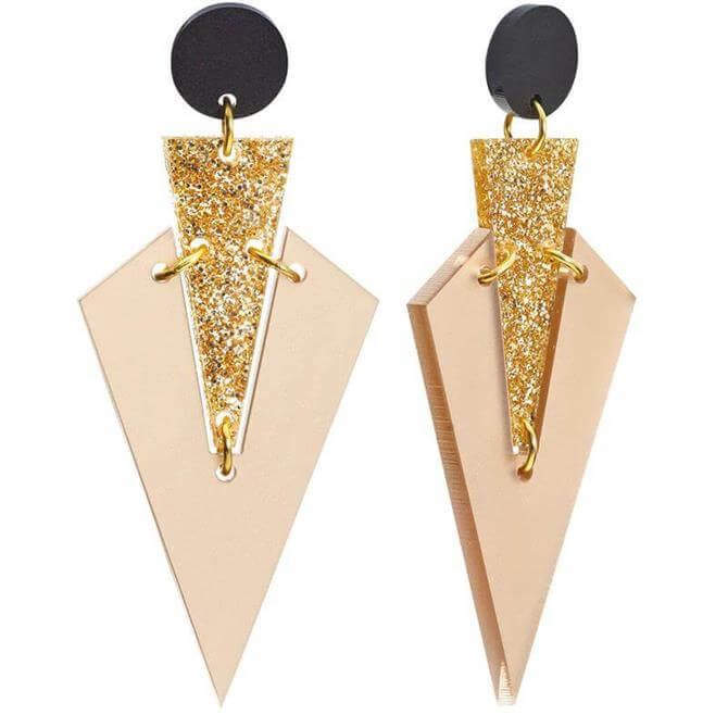 Toolally Nude Art Deco Drops Earrings