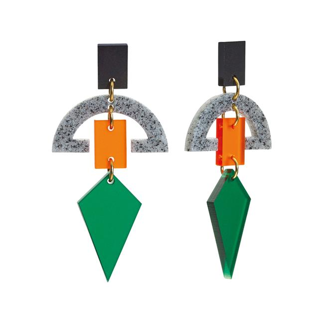 Toolally Green Half Moon Drops Earrings