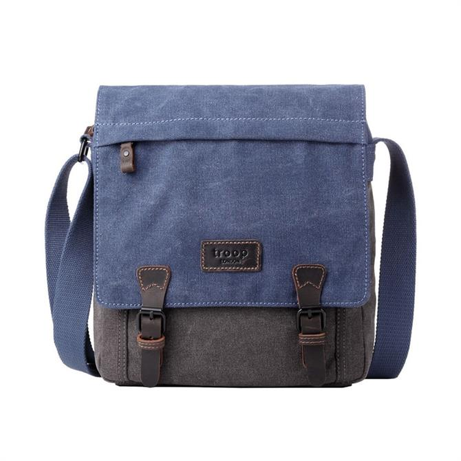 Troop London Heritage Classic Canvas Tall Messenger Bag - Blue