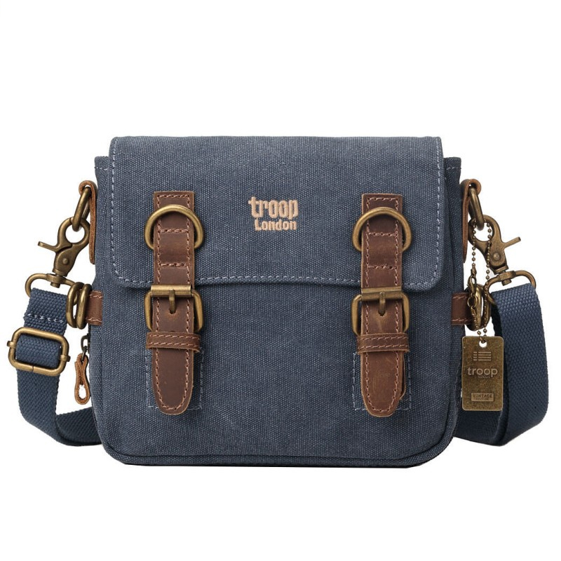 An image of Troop London Classic Cross Body Bag- Blue - 20X22CM, BLUE