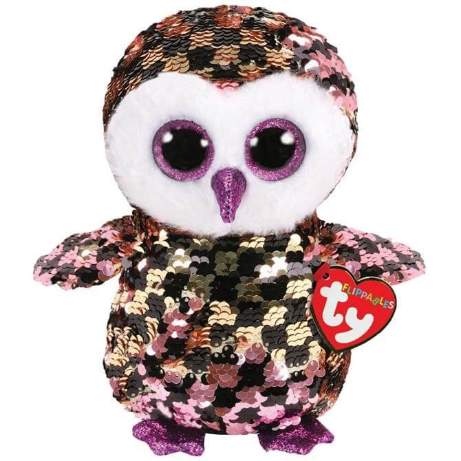 TY Flippable Checks Owl Medium
