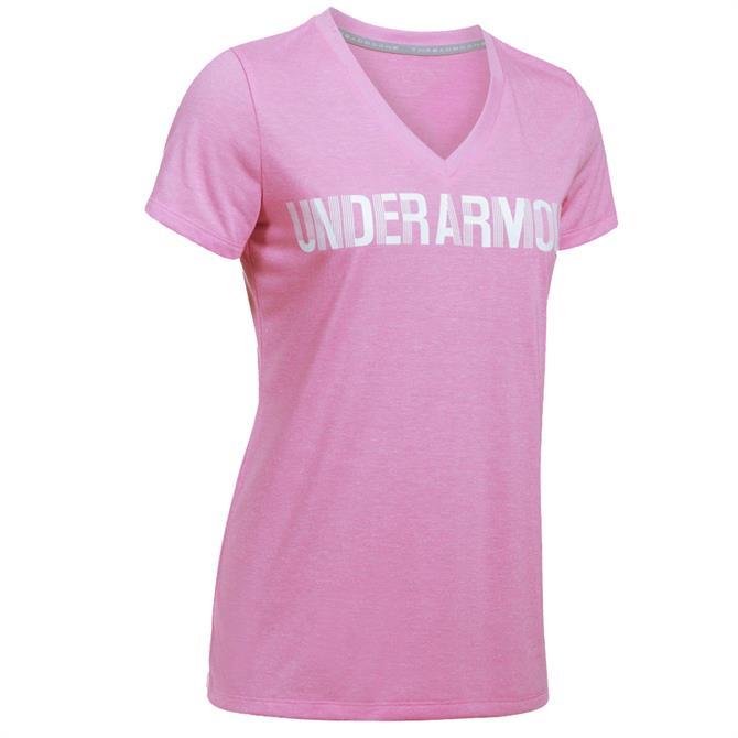 Under Armour Women's Threadborne Graphic Twist V-Neck- Pink