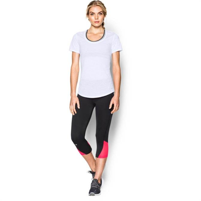 Under Armour Women's Streaker Short Sleeve T-Shirt- White/Reflect