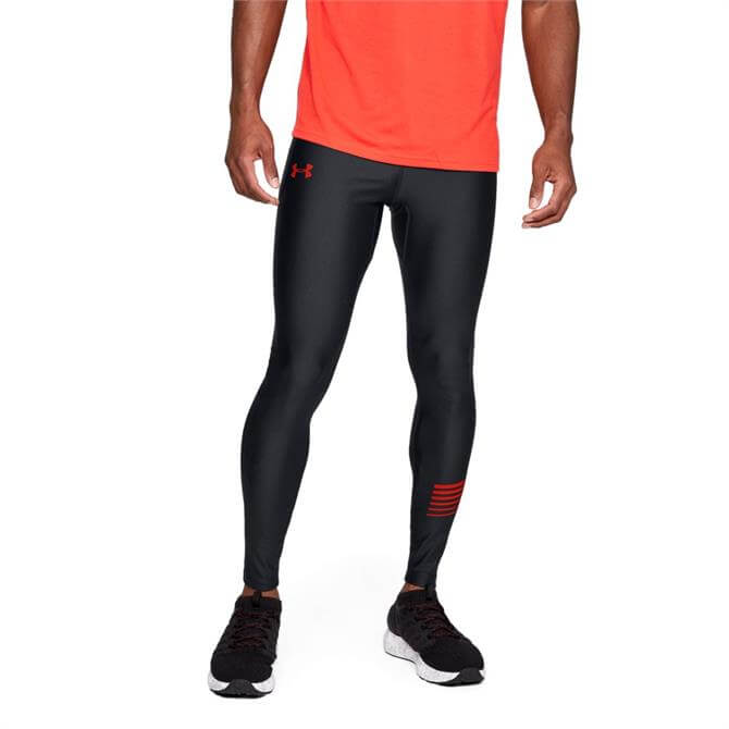 Under Armour Men's HeatGear Run Graphic Tights- Black/Red
