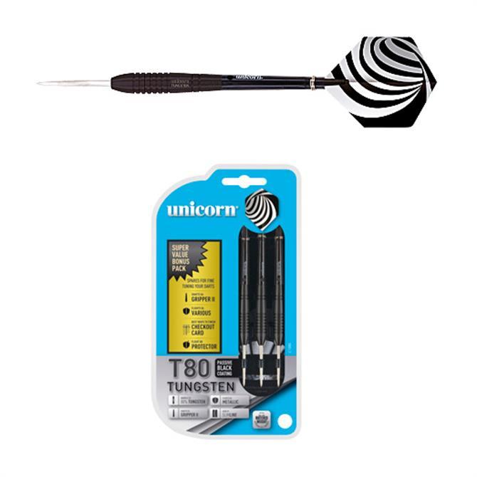Unicorn T80 Black Tungsten Core XL Darts