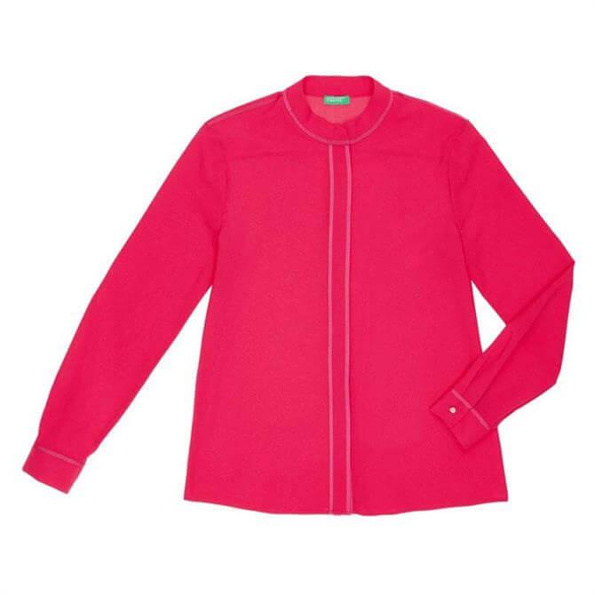United Colors of Benetton Mandarin Collar Crepe Shirt