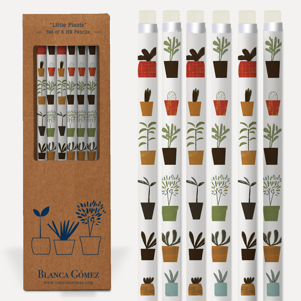An image of Blanca Gomez Little Plants Set of 6 HP Pencils