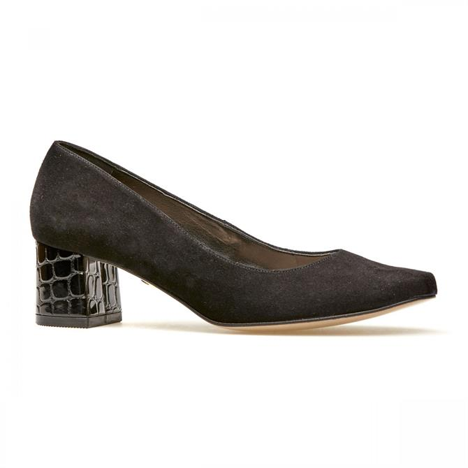 Van Dal Women's Magpie Black Suede and Croc Print Courts