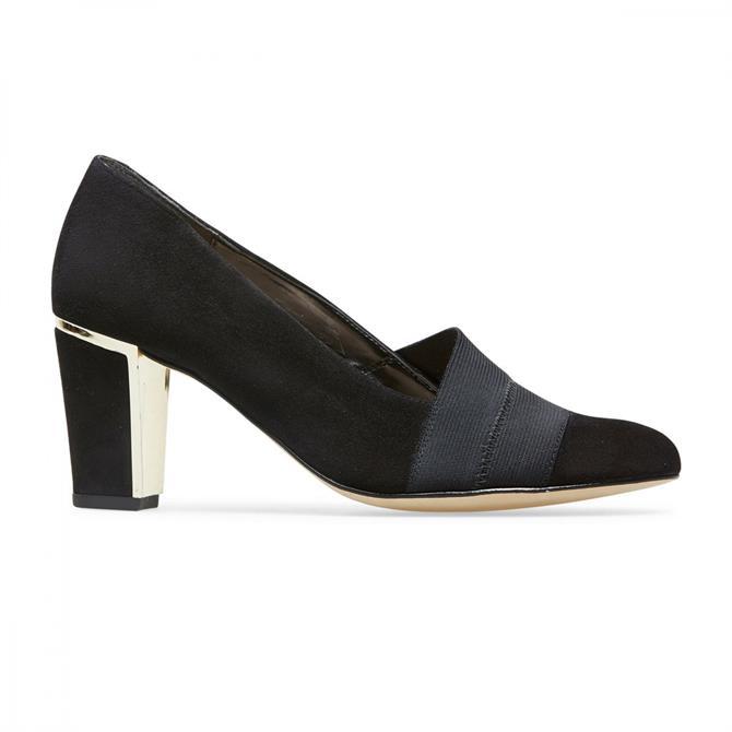 Van Dal Women's Ashbourne Wide Fit Black Suede Court Shoes