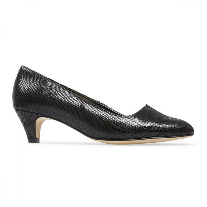 Van Dal Women's Britannia Black Reptile Print Court Shoe