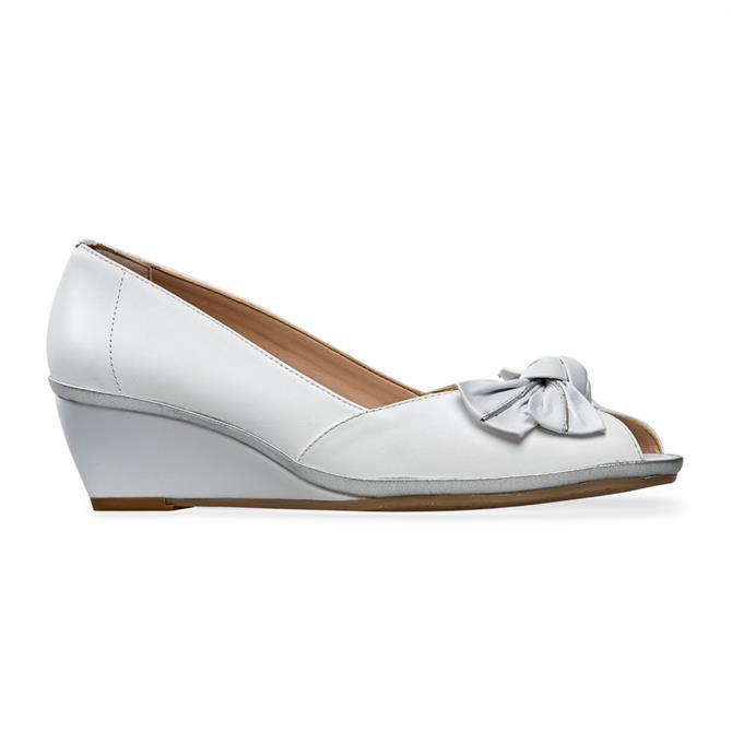 Van Dal Women's Florida II White Silver Peep Toe Wedge