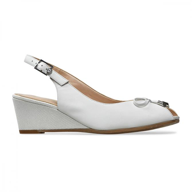 Oxley Women's White Lizard Print Slingback Wedges