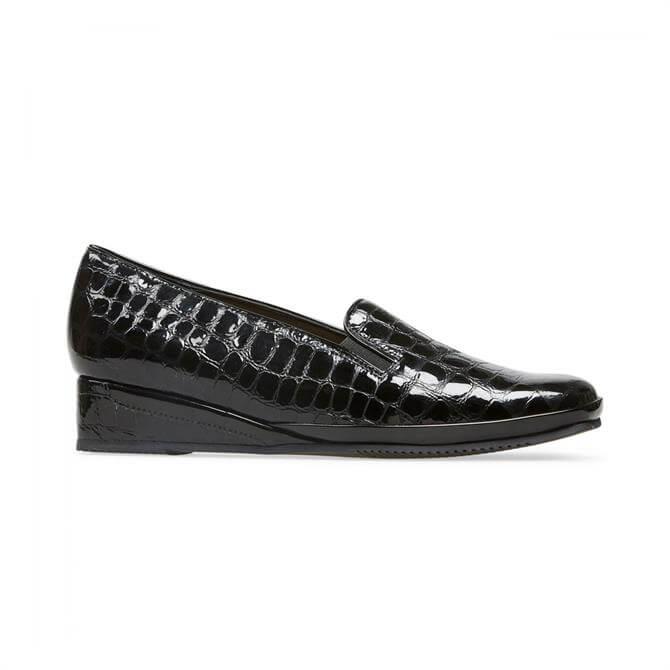 Van Dal Women's Rochester II Black Patent Croc Wedge