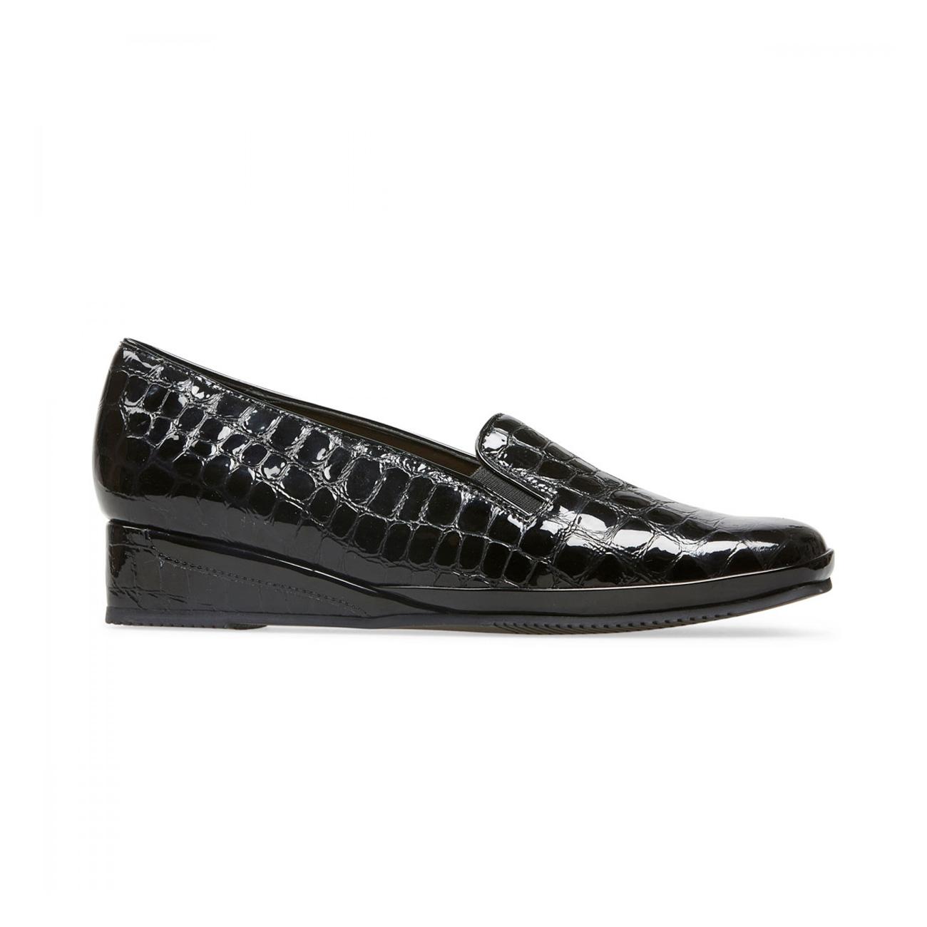 Van Dal Women?s Rochester II Black Patent Croc Wedge