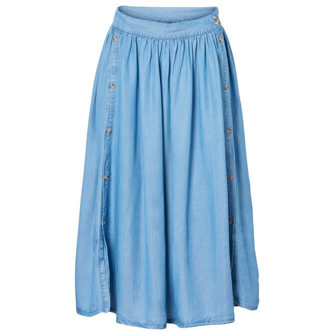 Vero Moda Mia Button Detail Denim Wash Skirt