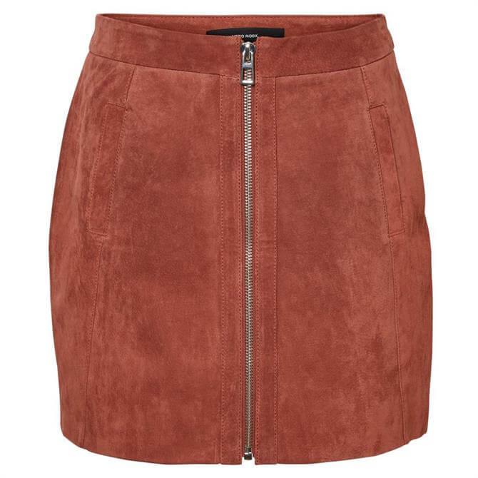 Vero Moda Sana Suede Zip Front Skirt
