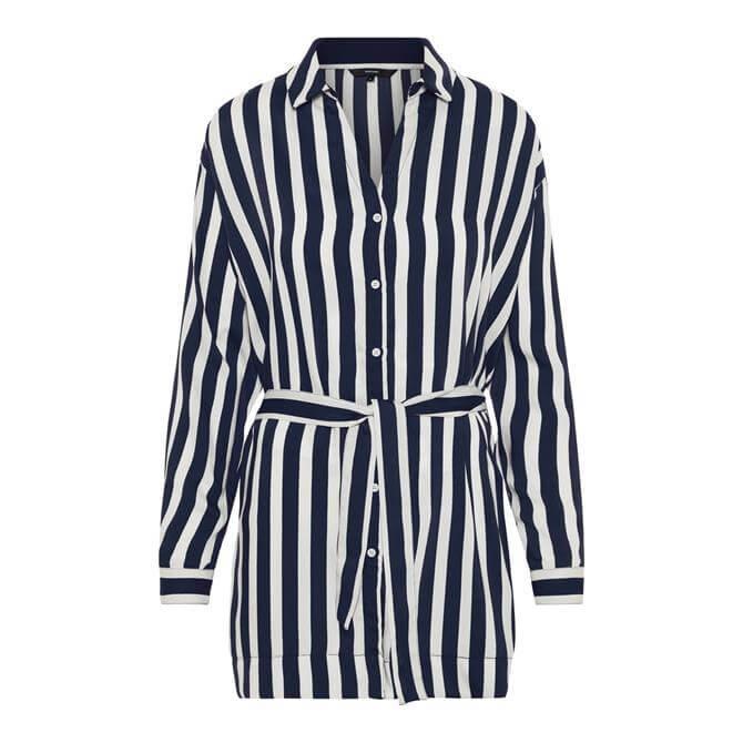 Vero Moda Stinna Longline Belted Striped Shirt