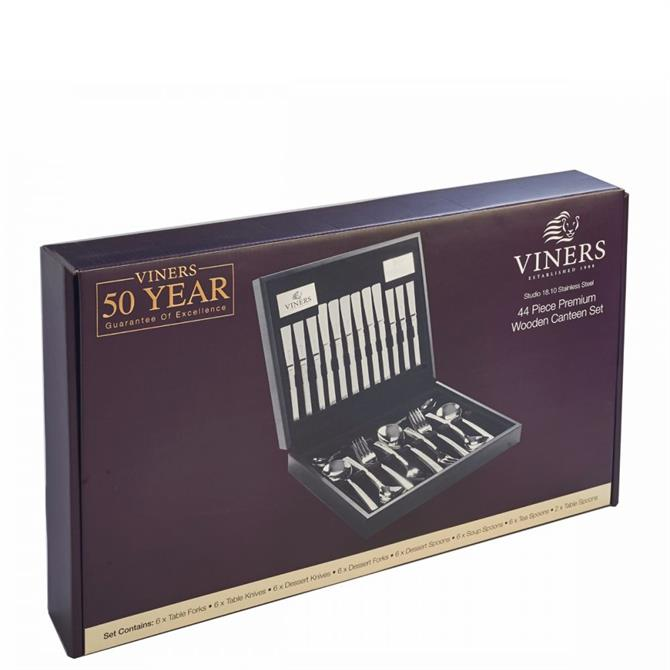 Viners Studio 18/10 Stainless Steel 44 Piece Wooden Canteen Box