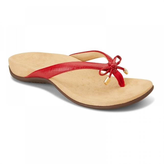 Vionic Womens Bella Lizard Red Toe-Post Sandal