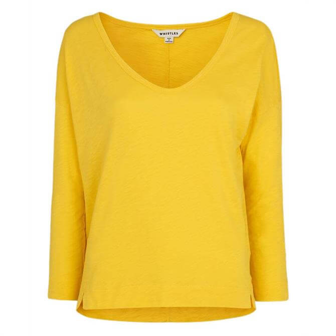 Whistles Cotton Scoop Neck Relaxed Top