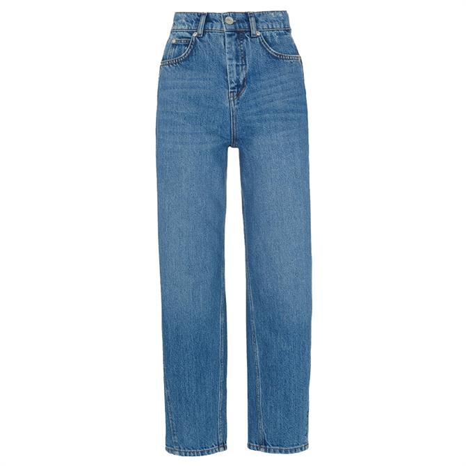 Whistles Mid Wash High Waist Barrel Leg Jeans