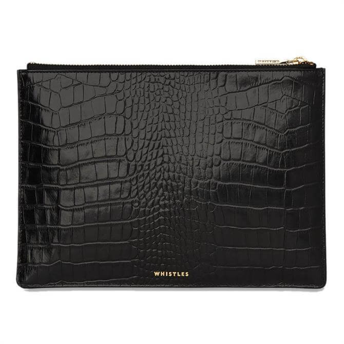 Whistles Shiny Croc Medium Clutch
