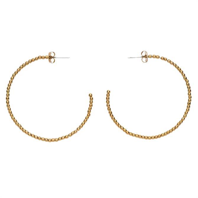 Whistles Seed Bead Large Hoop Gold Earrings