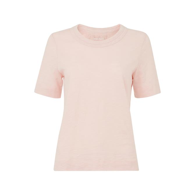 Whistles Rosa Double Trim Pale Pink T Shirt