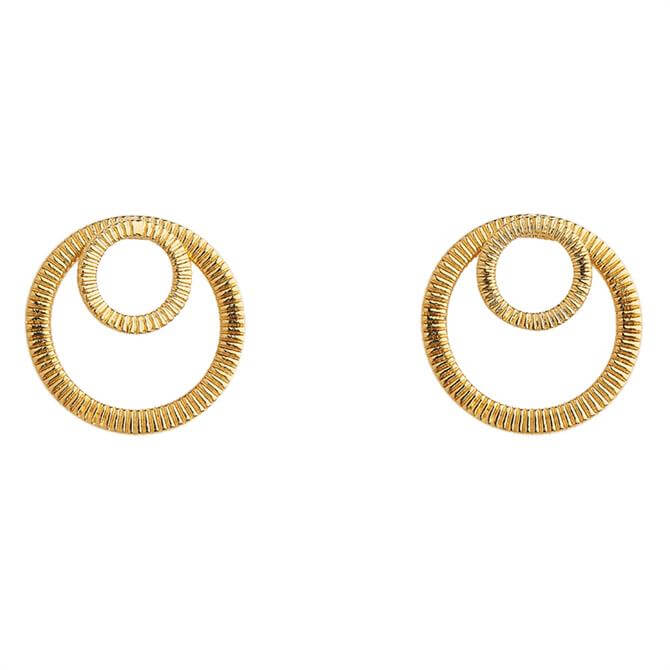 Whistles Textured Double Cirlce Earrings