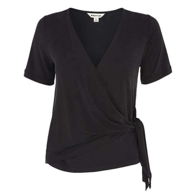 Whistles Cupro Wrap Front Top