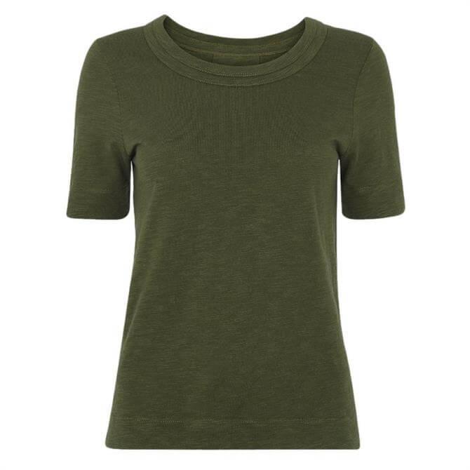 Whistles Rosa Double Trim Khaki T Shirt