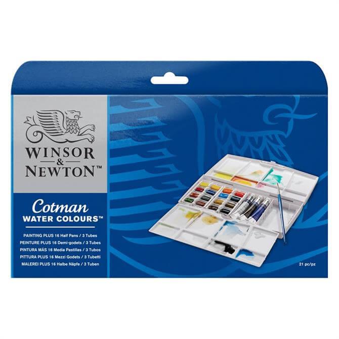 Winsor and Newton 16 Half Pan Painting Plus Set