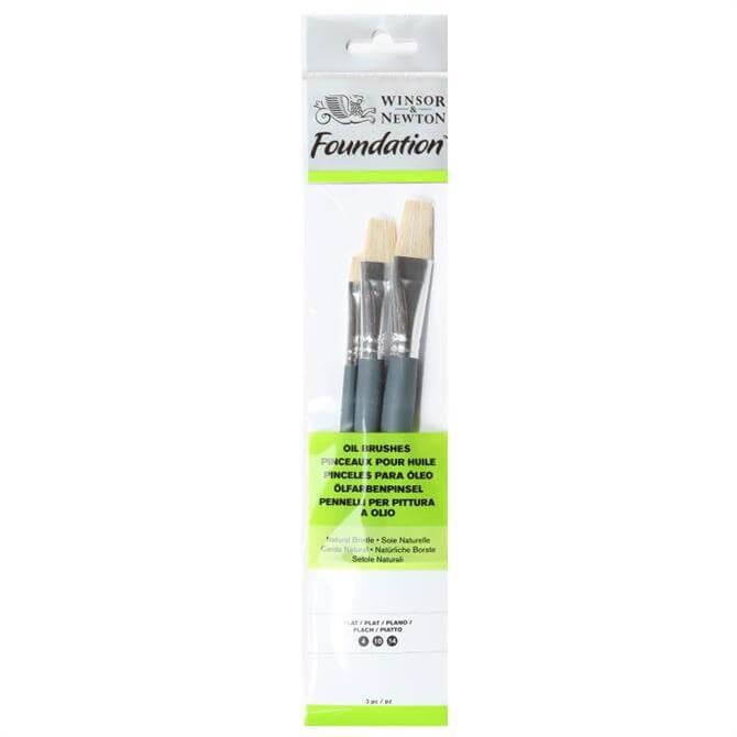 Winsor and Newton Foundation Oil Brush Set - 3 Piece Flat