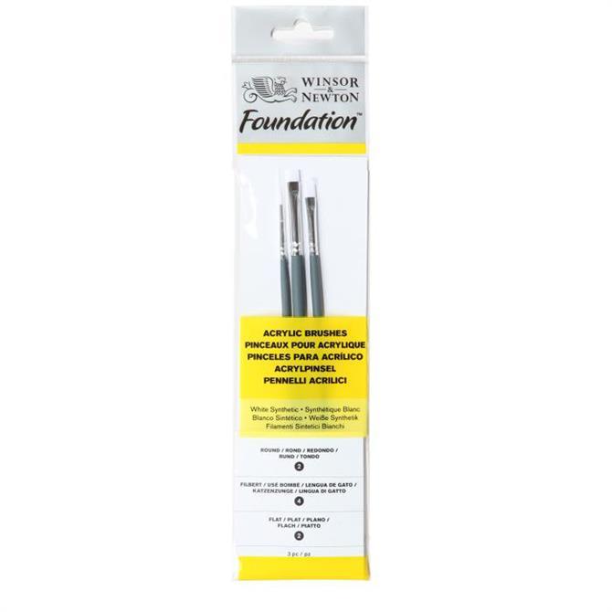 Winsor and Newton Foundation Acrylic Brush Set - 3 Piece Assorted